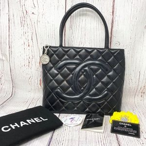 CHANEL Lambskin Quilted Medallion Black Handbag